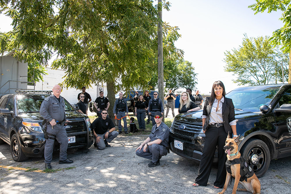 Pictured bottom right: Task 9 Owner, Natalie McGuire and K9 Sadie