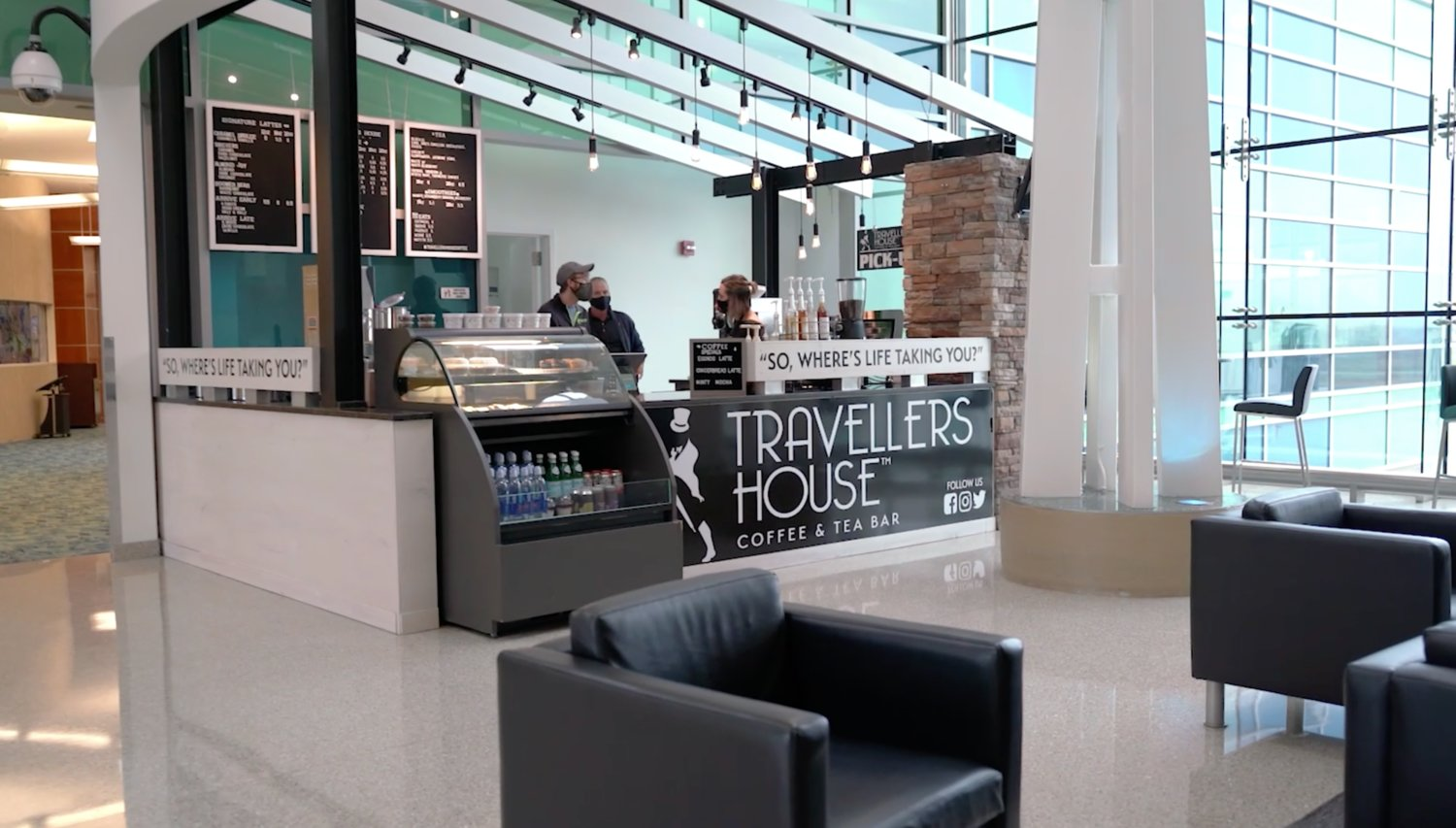 Travellers House is serving up beverages just past the Transportation Security Administration checkpoint.