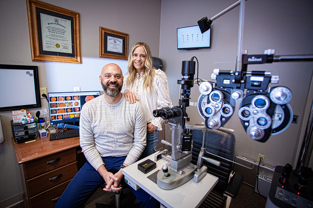 FOCUSED INVESTMENT: Jarvis Family Eye Center owners Dr. Devon and Brooke Jarvis have invested around $200,000 in equipment and technology upgrades since opening in 2005.