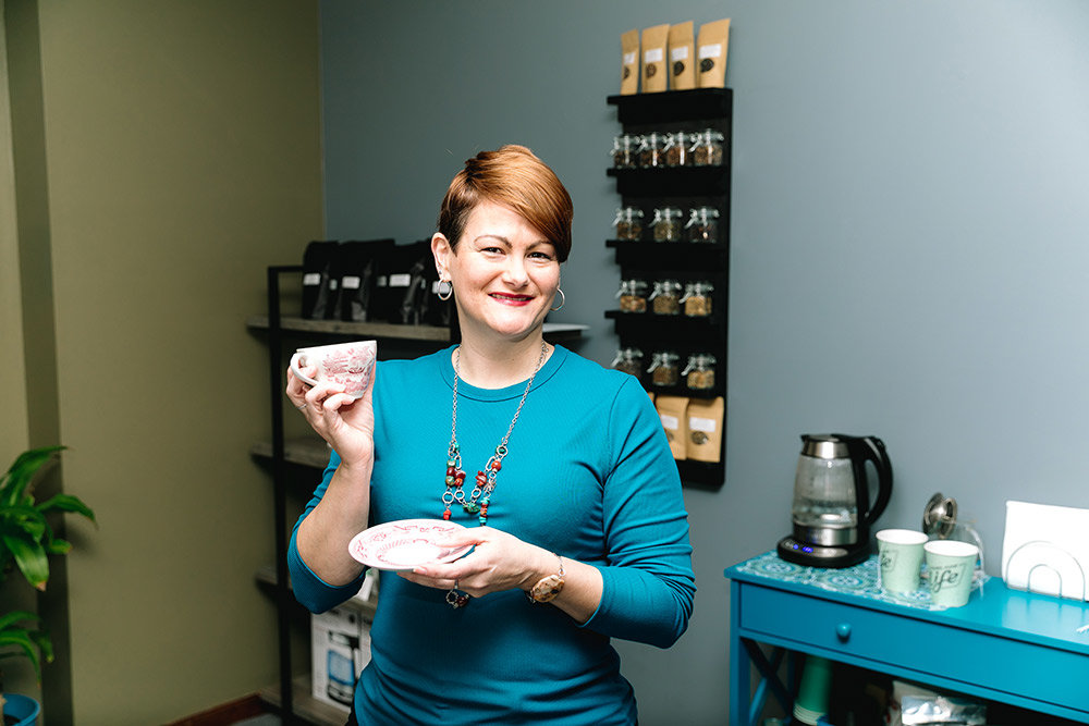 Briana Johnson, co-founder of Bahati Tea Co., create 12 original tea blends, with names such as Better Than Coffee and A Walk in the Woods.