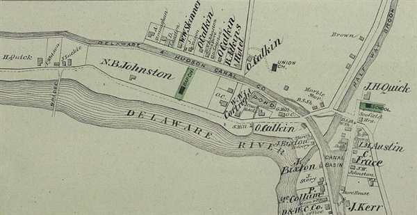 A map of Barryville, circa 1870.