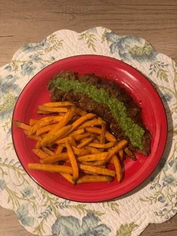 Gene and I enjoy butter basted steak with chimichurri. If I'm making sweet potato fries in the air fryer, I season them with cayenne pepper and spices for additional flavor!