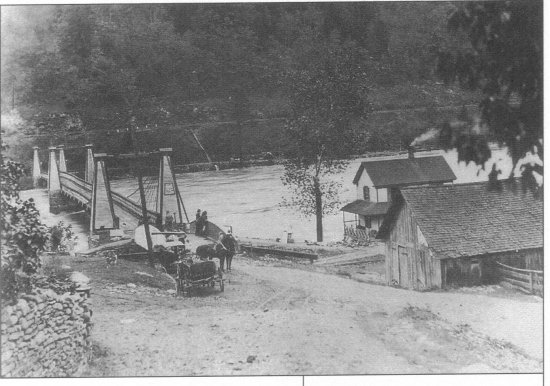 The Barryville-Shohola Suspension Bridge survived the Great Pumpkin Flood of 1903, but three other Delaware River crossings, including the Pond Eddy Bridge (pictured), were not so fortunate.