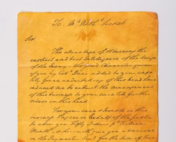 """A portion of """"the letter that won the American Revolution"""" from George Washington to Nathaniel Sackett asking him to form a network of spies. The actor Stephen Root played the role of Nathaniel Sackett in the AMC television series Turn: Washington's Spies."""