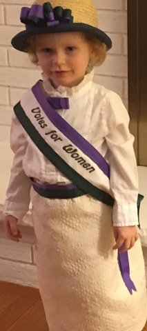 Most recently my machine has sewn Halloween costumes for a very special little girl who dressed as a suffragette and the Statue of Liberty in recent years.