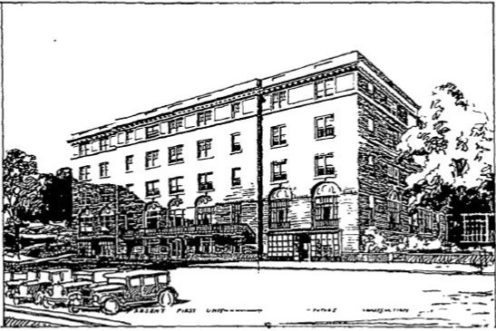 An architect's rendering of the proposed addition to the Hall House as it appeared in the Liberty Register newspaper on July 14, 1927.