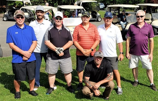 Several members of the Swan Lake Golf & Country Club Wednesday Night Men's league include, front row, Josh Hinkley, back row left to right, Dave Hoskings, Paul Alden, Rob Esposito, Dave Kuebler, Bill Orr and Roy O'Mara.