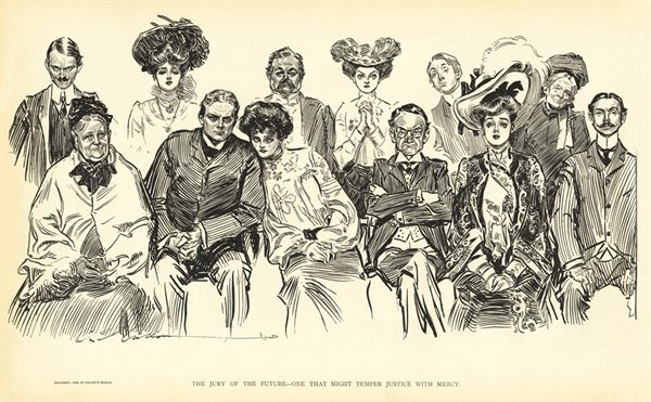 A Collier's Weekly cartoon from 1903, expressing an editorial comment about women serving on juries. Not all comments were as positive.