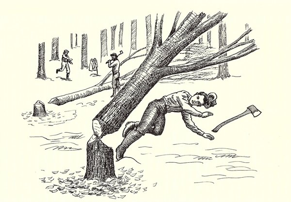 William Dunn is killed by a falling tree in 1830. (Illustration by Francis W. Davis for the Sullivan County Historical Society)