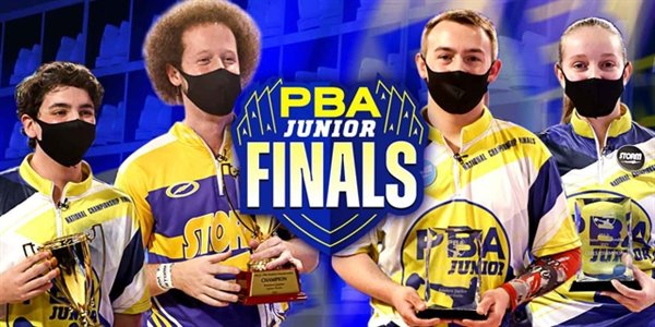 Champions of the PBA National and Junior National Championships bowled last Sunday at the Bowlero Jupiter at Jupiter, Fla, from the left, Nate Purches and Kyle Troup (Pro-Jr. Doubles Champions) and Spencer Robarge and Julian Martin (Boys & Girls Jr.) National Champions.