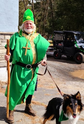 Holy St. Patrick AKA Banjo Dan and his dog Callie of Glen Spey rode in the parade and then provided live music for the Lawrence Lounge's Corned beef and cabbage St. Patrick's Day dinner.