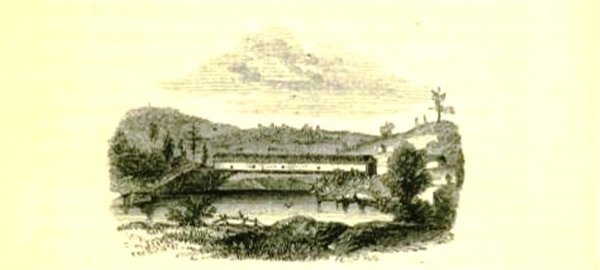 An illustration of the covered bridge at Narrowsburgh, one of dozens of sketches of the Upper Delaware region by the artist William MacLeod, who was commissioned by the Erie Railroad.
