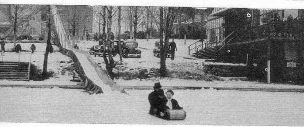 Tobogganing was always popular during the winters at Sullivan County hotels. This toboggan run was at the Laurels in Sackett Lake.