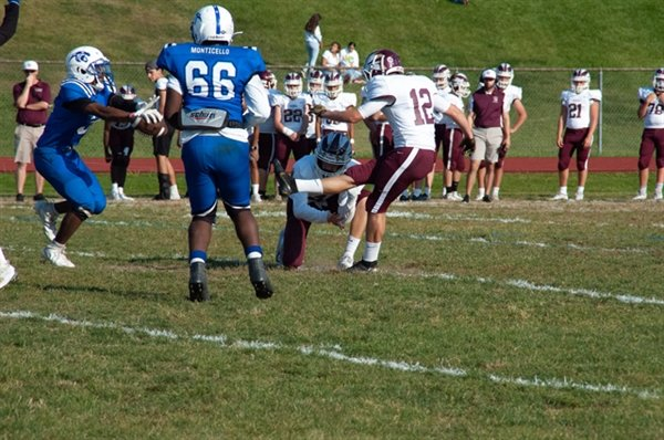 Monticello's Vincent Wright blocks an O'Neill extra-point attempt in last weekend's game.