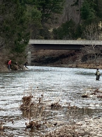 Despite chilly temperatures and morning snow, good numbers of trout fishers were out and about on Opening Day of the trout fishing season.
