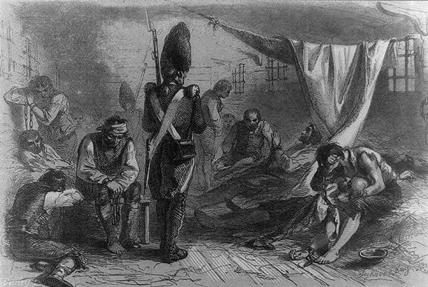 The interior of the British prison ship, the HMS Jersey, as depicted in an 1855 sketch.