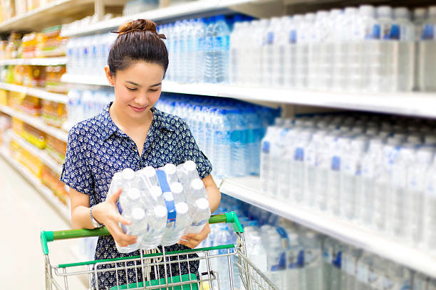 Bottled water is a popular item in most supermarkets.
