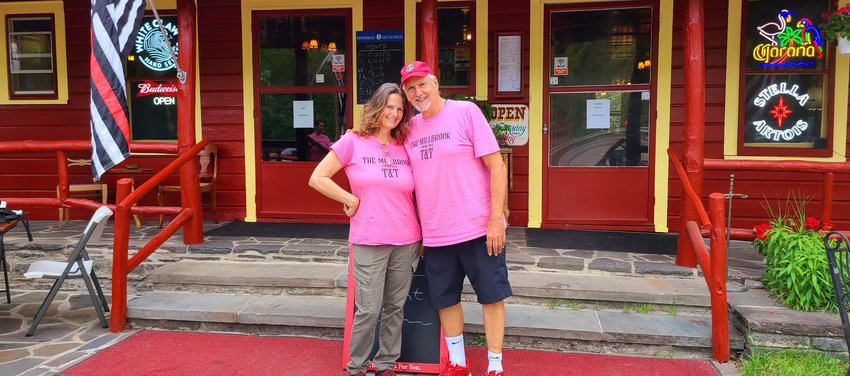 Teri and Tom Ferraro are the new owners of the Millbrook Inn Restaurant and Bar on Route 97 in Pond Eddy. After remaining vacant for seven years, the Ferraro's completely renovated the historic landmark property with a spacious dining room with a fireplace, a cozy bar, comfortable lounge area with river views and lots of riverbank outdoor seating with excellent wait staff service for drinks and food services.