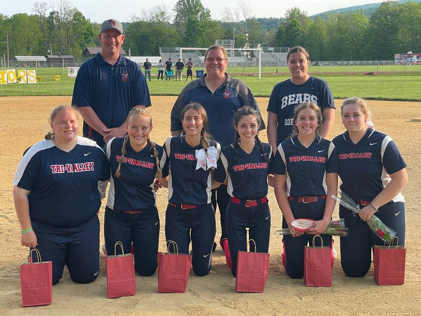 The Tri-Valley Lady Bears recently honored their seniors following a regular season game. Front row from left, are seniors Jordan Costa, Emily Schmidt, Rebecca Musa, Macy Shamro, Madison Botsford and Kelsey Shamro. The group of girls have played together for 11 years. Pictured in the back row are Head Coach Kim Costa (center), Greg Botsford and Claire Moore.