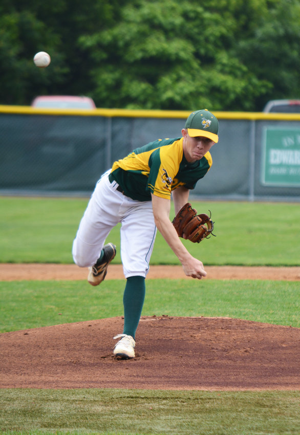 Eldred freshman pitcher Josh Warming fires a pitch in the first inning of Saturday's Class D championship baseball game.