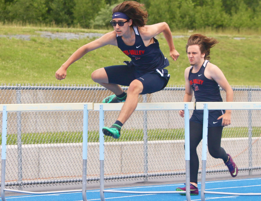 Tri- Valley's Nicholas Jucha wins the 110 hurdles. He went on to win the 400 hurdles as well.