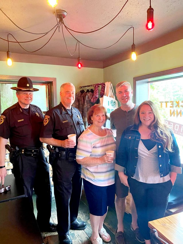 """UnderSheriff Eric Chaboty and Sheriff Mike Schiff met with Margie Granese, John Pizzolato and Laura Burrell at the """"Coffee With the Sheriff"""" event at the Stickett Inn in Barryville. Over forty residents of Highland stopped by to meet Sheriff Schiff and speak with him about their public safety concerns."""