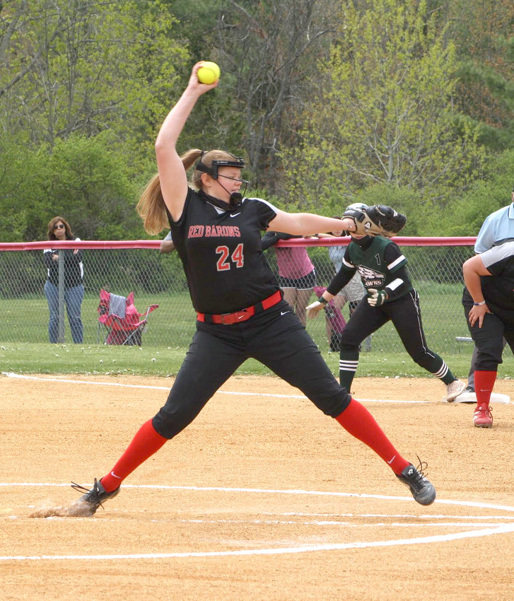Corning Community College's Emily McCreery rears back and fires. The former Monticello High School hurler paced her team to a 37-3 record and a berth in the NJCAA D3 National Championship game.