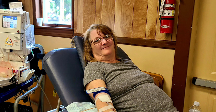 The Town of Highland Clerk, Sue Hoffman, rolled up her sleeves and donated blood at last week's American Legion's Ambulance Services Blood Drive. Ms. Hoffman said she is a long time donor and tries to donate during these blood drives and feels it is an important thing to do for the community.