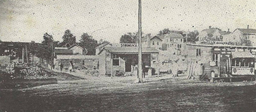 The aftermath of the great Monticello fire showing the corner of present day Broadway and Landfield Avenue. Peter C. Murray's Palatine Hotel stood at the far left of the photo.