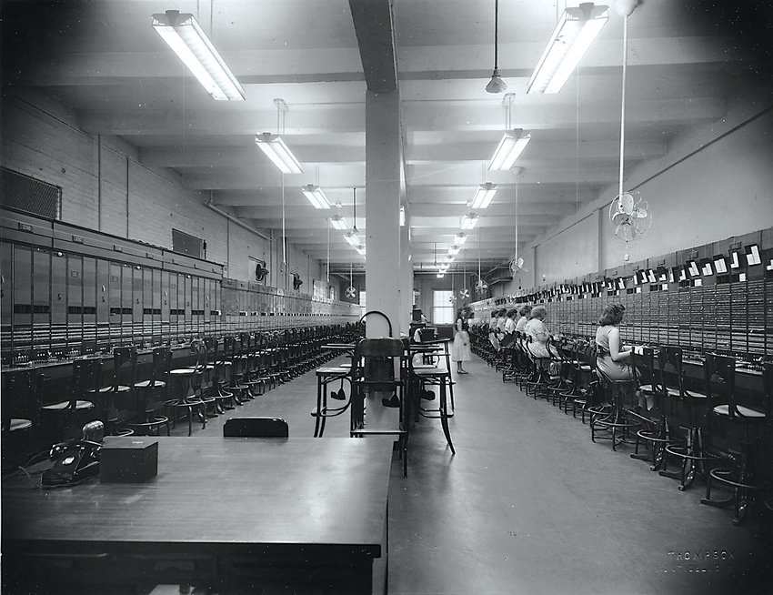 Telephone operators at the Monticello Telephone Company long before the introduction of dial telephones in 1965.