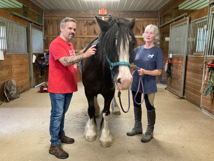 """Peter Connors brushing """"Breeze"""" with Martha Dubensky LPC during an EFP session."""
