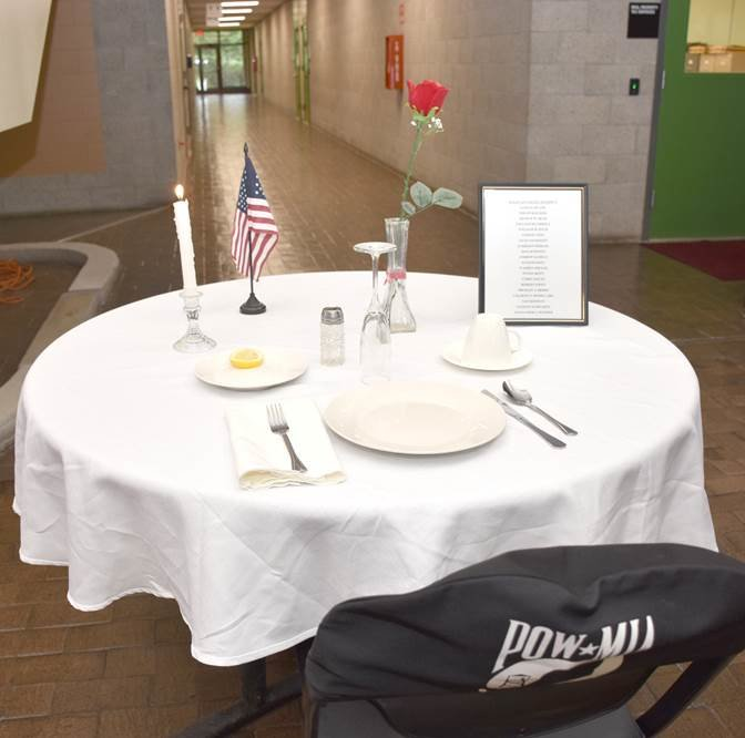 The Fallen Comrade Table, present at every Sullivan County POW/MIA Recognition Day, features a specific set of items designed to remember American servicepeople who were/are prisoners of war or missing in action.