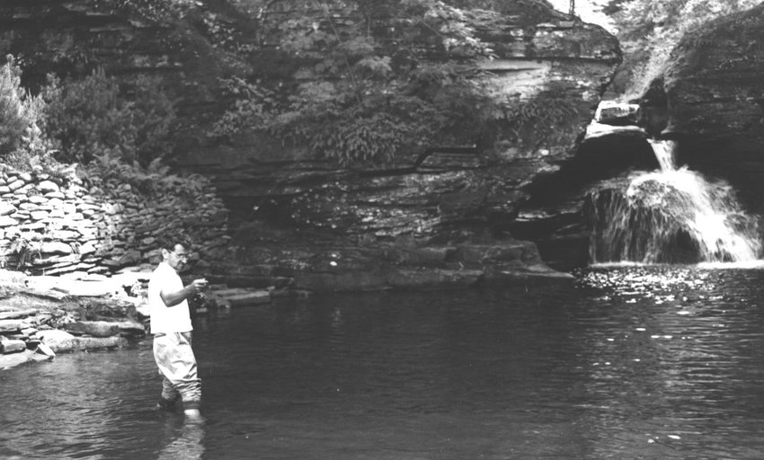 Irving Berlin fishing near his home in Lew Beach.