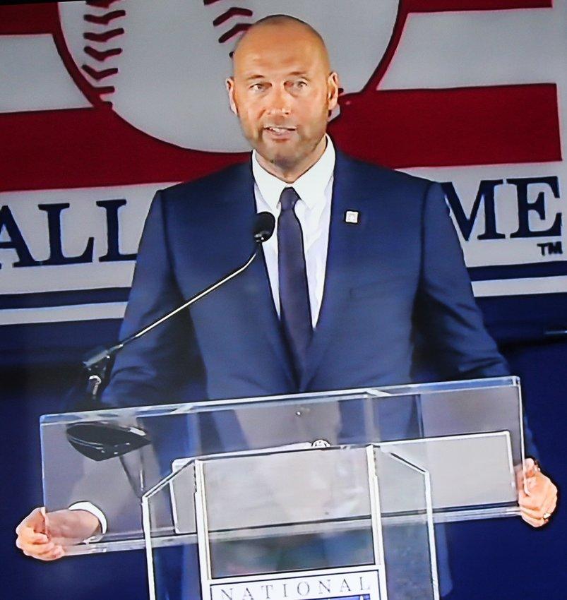 The Captain, Yankees Derek Jeter, gives his Baseball Hall Of Fame Acceptance speech.