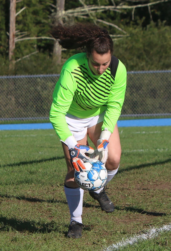 Eldred keeper Lily Gonzalez makes an impressive save. Most famous for being a standout catcher on Eldred's juggernaut softball team, Gonzalez came out for soccer this fall. She is a great athlete and one of those 100 percent impact players.