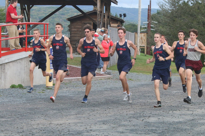 And they're off. T-V leads the pack at the start of their race against Livingston Manor. Pictured left to right are Van Furman, Adam Furman, Caleb Edwards, Vincent Mingo and Craig Costa.