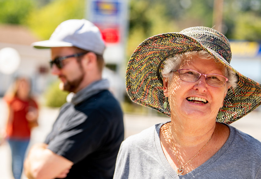 JEMS volunteers, friends, and family kept Saturday's dedication under wraps, surprising Barbara Yewchuck as she arrived at the gazebo near the Schadt Memorial Bridge with a sea of friendly faces.