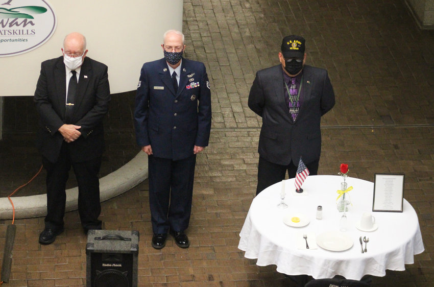 Pictured, from left, are Veterans Service Agency Director John Crotty, Veterans Service Officer and AmVets Commander Stephen Walsh and Veterans Services Officer Pablin G. Santiago Lugo.