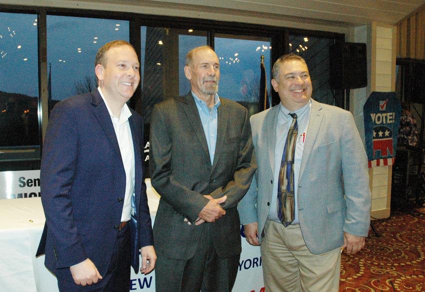Congressman Zeldin posing with Chairman Gary Maas and  Richard Baum.