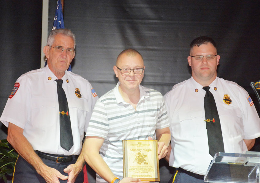 Beaming with pride is Anthony Magie (center), the recipient of the Fallsburg FD's 2021 Louis J. Levine Firefighter of the Year Award. To his left is Fallsburg FD First Assistant Chief John Kozachuk, and to his right is Fire Chief Jordan Kozachuk.