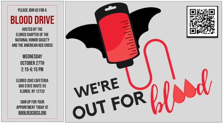 The students of Eldred JSHS are sponsoring a blood drive in conjunction with the American Red Cross on Wednesday, October 27th from 2:15 - 6:15 p.m. Walk-ins are welcome.