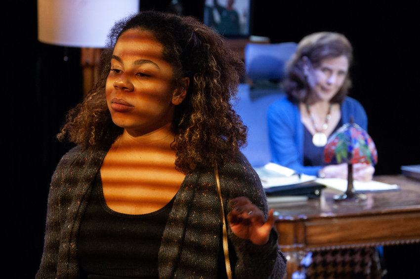 The play, written by Eleanor Burgess, involves a black student (Summer Ainsworth) who visits her white professor (Kate Konigisor) for a review of her thesis on the American Revolution.