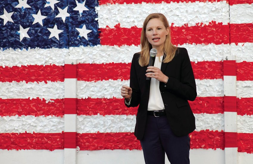 Missouri State Auditor Nicole Galloway, who is the Democratic nominee for Missouri governor, speaks to a crowd of about 50 people at the Pettis County Democrat Party Headquarters on Monday night.