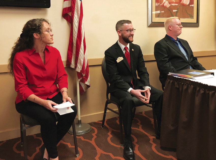 From left, Pettis County Deputy Assessor Amber Bridges, Sedalia Ward 1 Councilman Tom Oldham and Pettis County Assessor Christopher Woolery, all candidates for Pettis County Assessor in the August primary election, participate in the Pettis County Pachyderm's forum Friday afternoon at Best Western State Fair Inn.