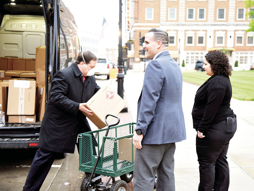 Missouri Secretary of State Jay Ashcroft delivers face masks, hand sanitizer, face shields and other COVID-19 protective gear to the Pettis County Courthouse, Thursday morning. On hand to receive the items were Pettis County Clerk Nick La Strada and Election Administrator Merari Pena.