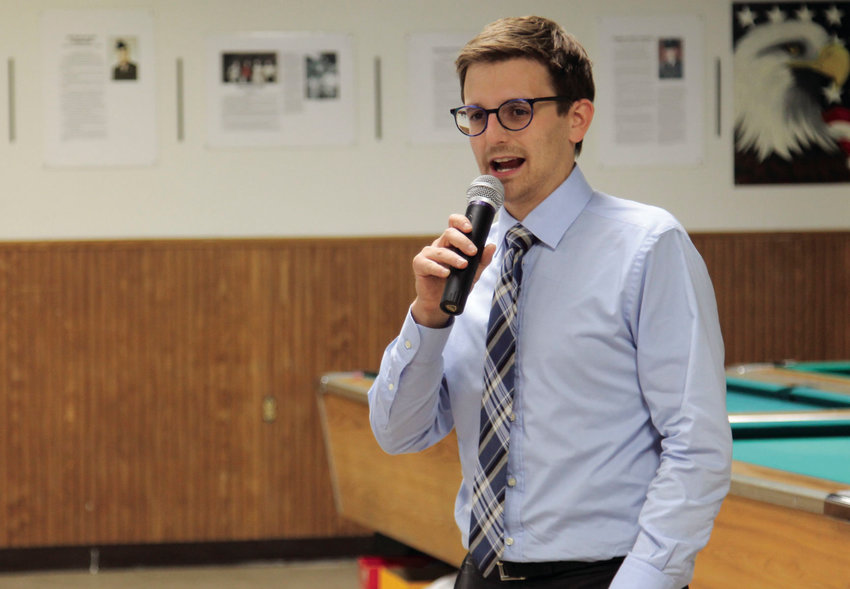 Elad Gross, a Democratic candidate for Missouri attorney general, talks about his campaign priorities Thursday night at the annual Pettis County Democrat Club chili cookoff at the American Legion.