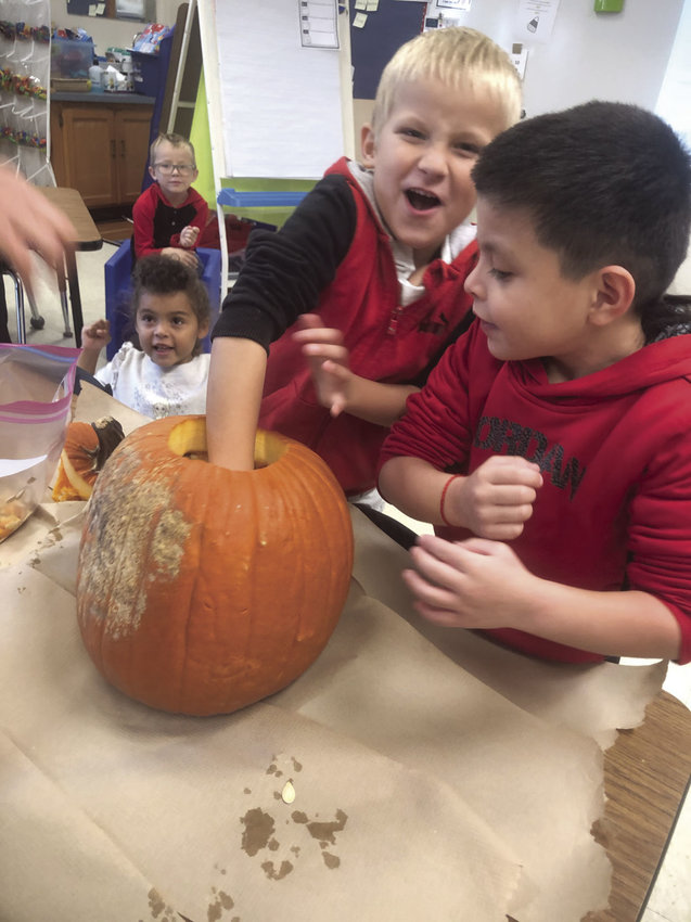 Pictured in the background are Washington Elementary students Adrean Paden and Jazzel Gerloff. Classmate Emmett Thompson makes a face while sticking his hand in a pumpkin as Dharius Montano looks on. Students in Randi Stewart's classroom recently spent time discovering fun facts about pumpkins as part of the classwork.