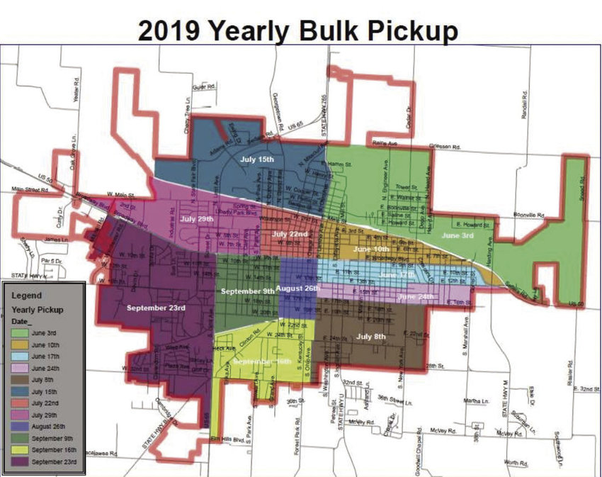 A map detailing the areas and dates of the city's new city-wide clean up this spring and summer.