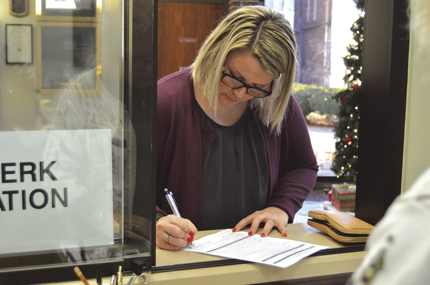 Ward 4 Councilwoman Megan Page files to run for her seat on the Sedalia City Council at 8 a.m. Tuesday at the City Clerk's Office. The filing window for the April 2 General Municipal Election opened Tuesday and will close Jan. 15.