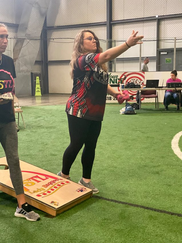Missouri's only female professional cornhole player, Jessica Jones, competes in a tournament earlier this month in Illinois. Jones, who has appeared on ESPN, placed second in Women's Doubles and third in Co-Ed Blind Draw at the event.